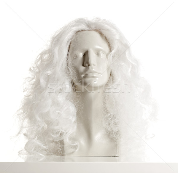 Mannequin Female Head with Wig on White Stock photo © courtyardpix