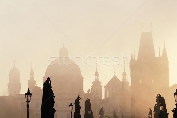 Прага моста рассвета туманный утра город Сток-фото © courtyardpix