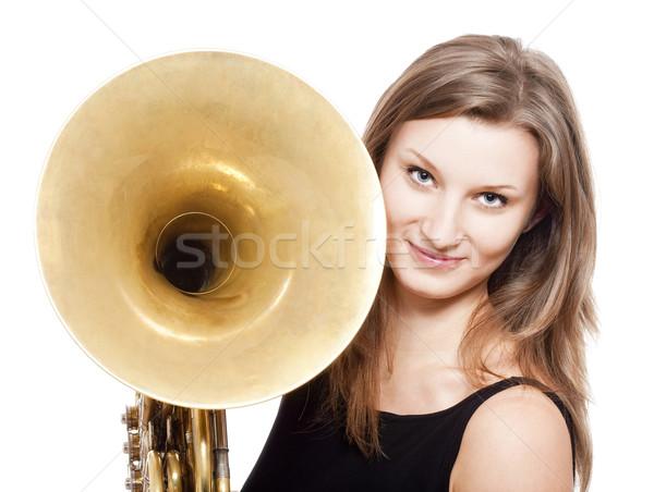 Kadın müzisyen fransız boynuz genç kadın Stok fotoğraf © courtyardpix