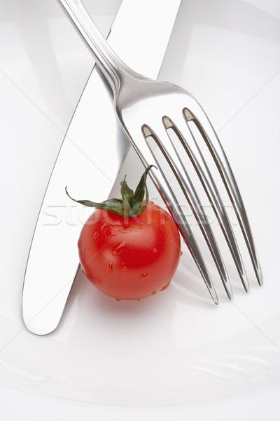 пластина вилка ножом изолированный белый Сток-фото © courtyardpix