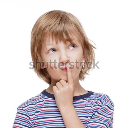 мальчика мышления пальца рот изолированный Сток-фото © courtyardpix