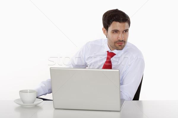 üzletember laptop fiatal üzlet igazgató fehér Stock fotó © courtyardpix