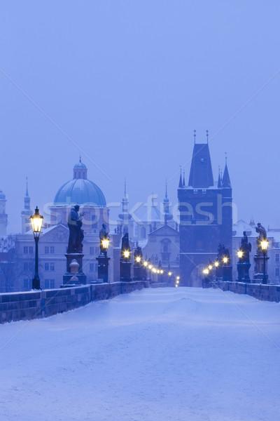 Прага моста Чешская республика зима утра снега Сток-фото © courtyardpix