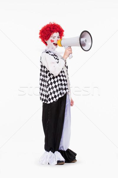 Clown czerwony peruka makijaż megafon mały Zdjęcia stock © courtyardpix