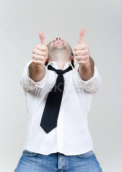 Stock fotó: Férfi · mutat · mindkettő · remek · izgatott · nevet