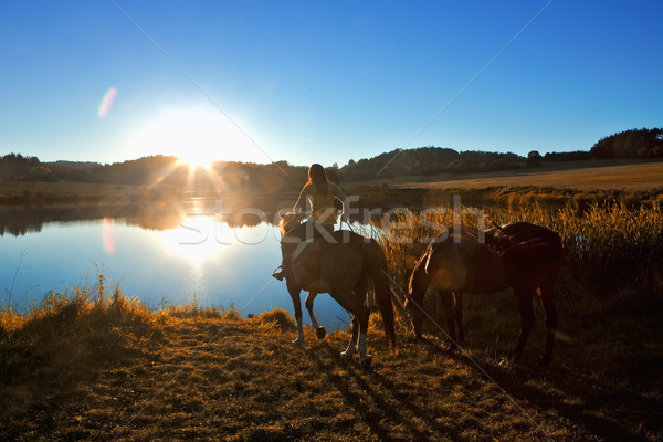 Woman with Two Horses by a Lake at Sunset Stock photo © courtyardpix
