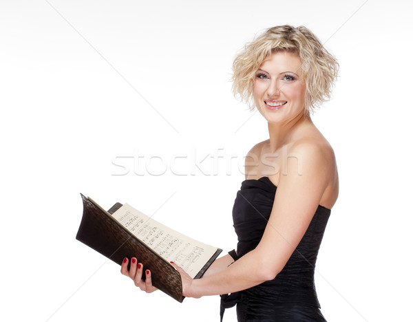 Opera zanger zingen fase jurk geïsoleerd Stockfoto © courtyardpix