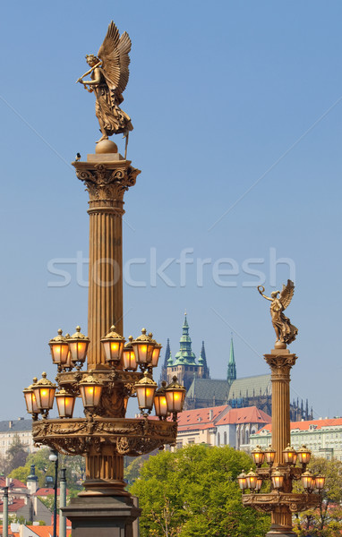 Prague - Hradcany Castle and Rudolfinum lanterns Stock photo © courtyardpix