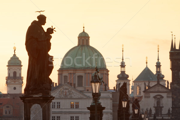 charles bridge, towers of the old town Stock photo © courtyardpix
