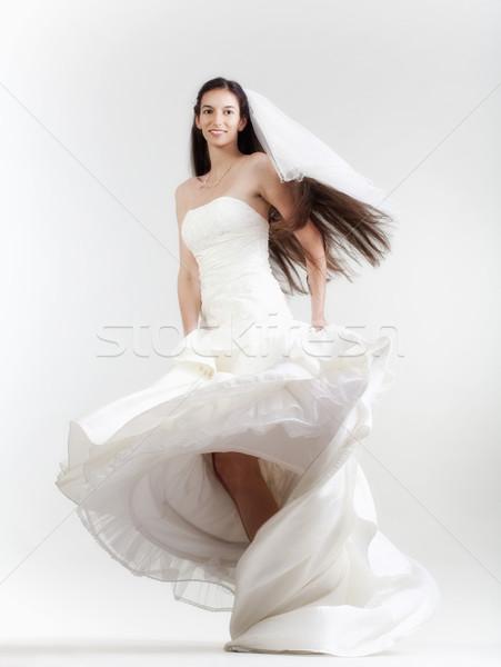 Menyasszony esküvői ruha portré hosszú sötét haj izolált Stock fotó © courtyardpix