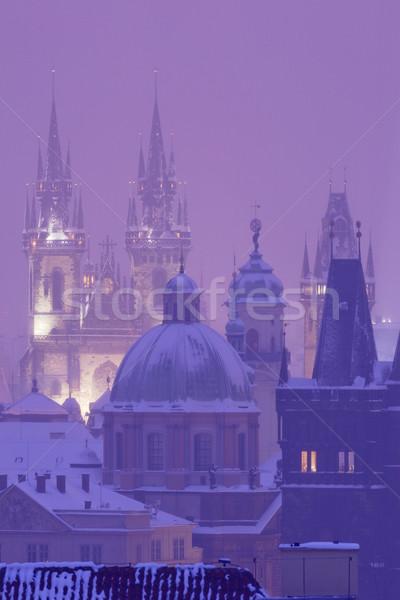 Praga inverno cidade velha pesado queda de neve céu Foto stock © courtyardpix