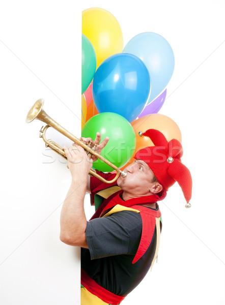Fúj trombita szórakoztat alkat tipikus jelmez Stock fotó © courtyardpix