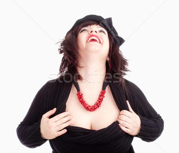Fiatal nő fekete sapka nevet izolált fehér Stock fotó © courtyardpix