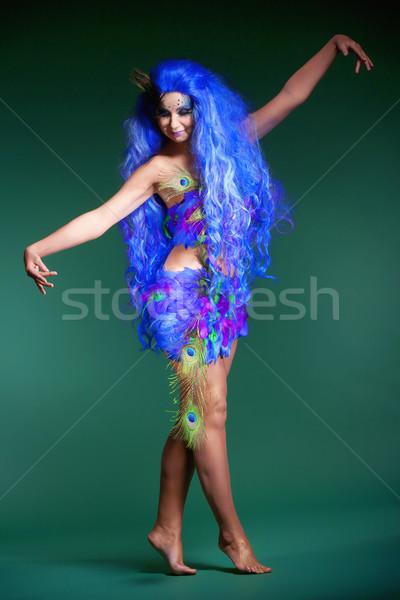 Donna blu parrucca abito ragazza Foto d'archivio © courtyardpix