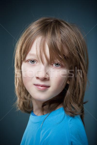 Portré fiú szőke haj kék felső Stock fotó © courtyardpix