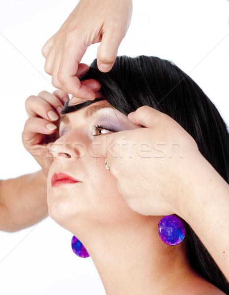 Stock fotó: Modell · fotó · izolált · fehér · lány · szem
