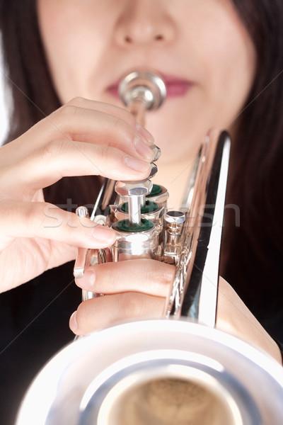 Trombeta jogador jogar isolado branco Foto stock © courtyardpix