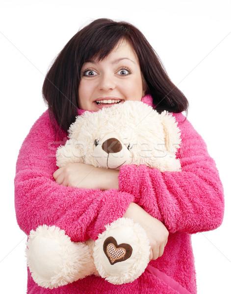 Jonge vrouw roze badjas knuffelen teddybeer vrouw Stockfoto © courtyardpix