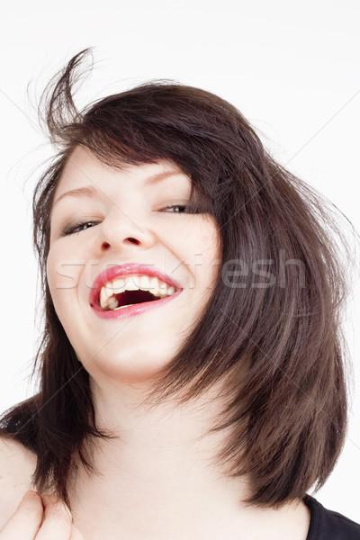 Fiatal gyönyörű nő sötét barna haj mosolyog portré Stock fotó © courtyardpix