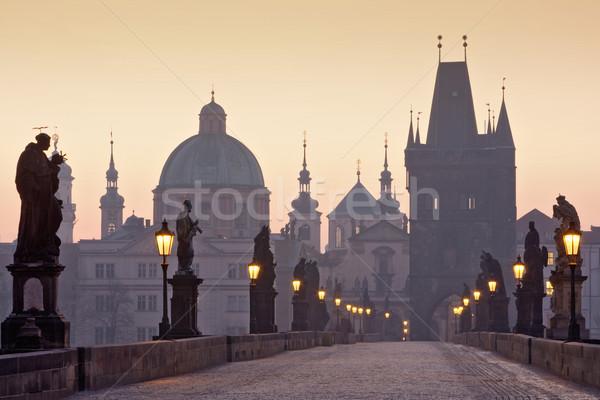 Prague pont République tchèque aube ville lumière Photo stock © courtyardpix
