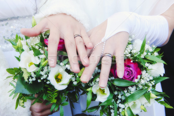 Lesbian Wedding - Newlywed Women Showing their Rings Stock photo © courtyardpix