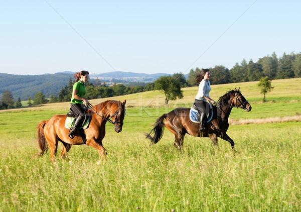Two Women Horseback Riding in a Landscape Stock photo © courtyardpix