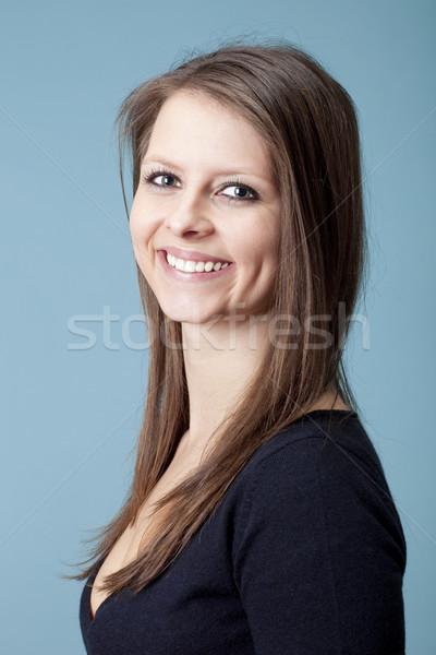 Portré fiatal lány fiatal gyönyörű nő barna haj izolált Stock fotó © courtyardpix