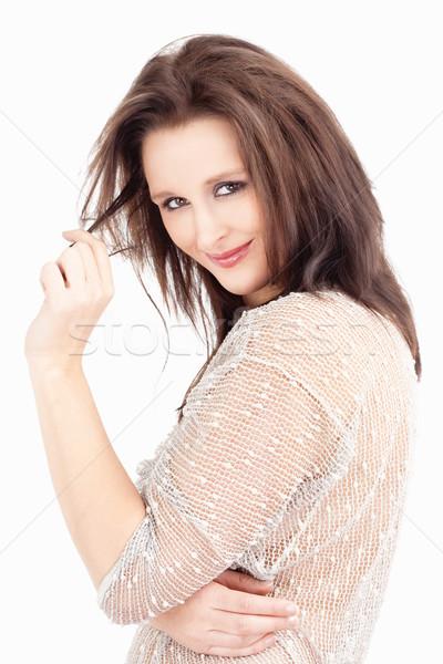 Retrato mulher jovem cabelo castanho sorridente isolado branco Foto stock © courtyardpix