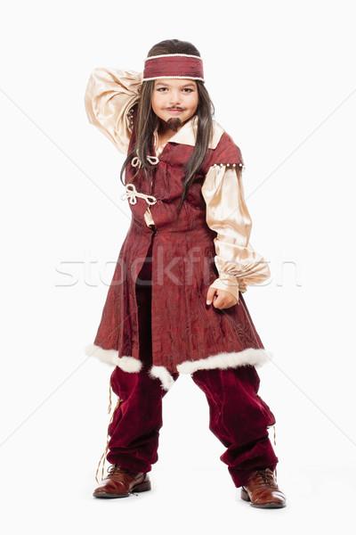 Kicsi fiú paróka kalóz jelmez portré Stock fotó © courtyardpix