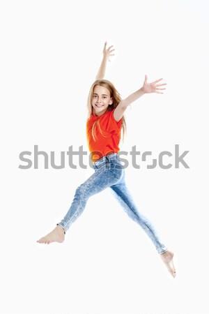 Fiatal lány szőke haj ugrik levegő szépség Stock fotó © courtyardpix