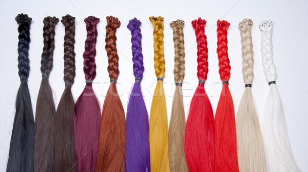 Kunstmatig haren gebruikt productie Rood Stockfoto © courtyardpix