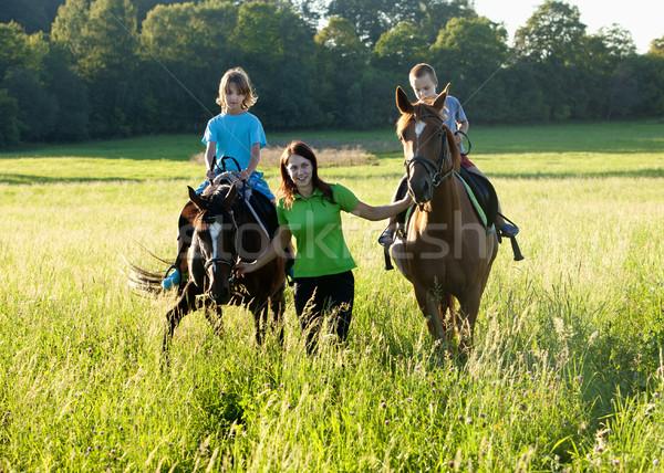 Lovaglás leckék nő vezető kettő lovak Stock fotó © courtyardpix