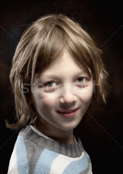 Chłopca blond włosy patrząc portret twarz Zdjęcia stock © courtyardpix