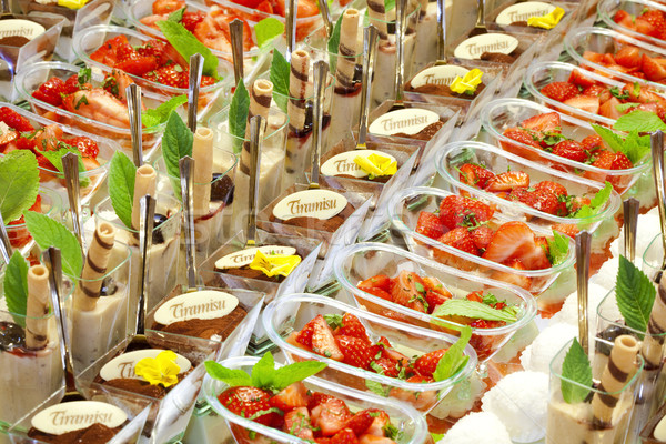Тирамису десерта служивший вечеринка фрукты стекла Сток-фото © courtyardpix