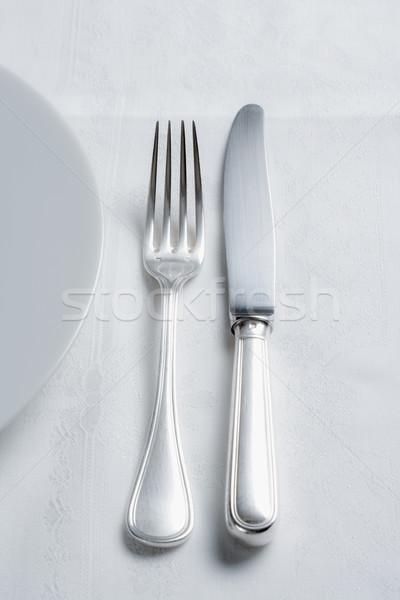 Argenterie élégante table blanche plaque couteau Photo stock © courtyardpix