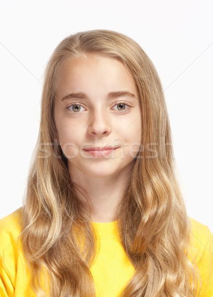 Stock fotó: Portré · gyönyörű · fiatal · lány · hosszú · szőke · haj