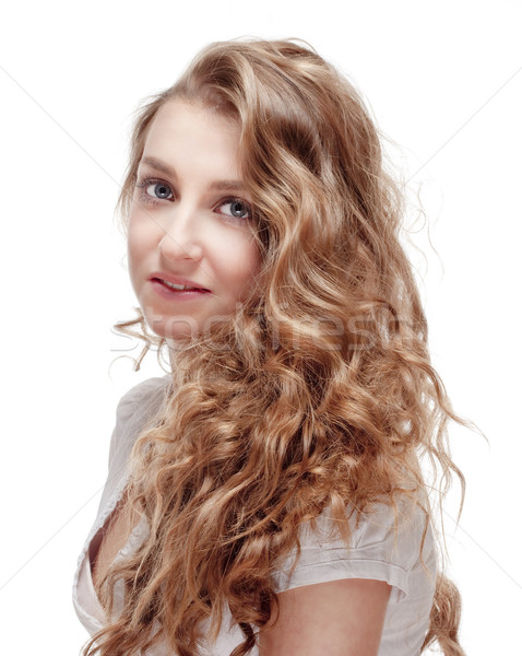 Portré fiatal lány fiatal gyönyörű nő hosszú barna haj Stock fotó © courtyardpix