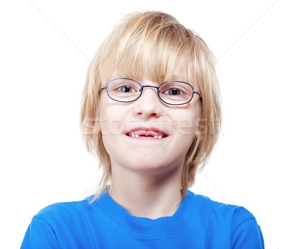 мальчика отсутствующий молоко зубов портрет Сток-фото © courtyardpix