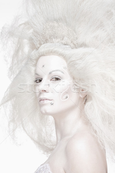 Woman with White Wig Posing as The Snow Queen Stock photo © courtyardpix