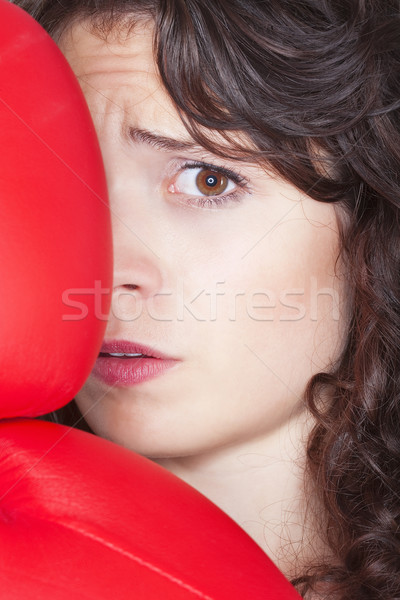 young woman with boxing gloves Stock photo © courtyardpix