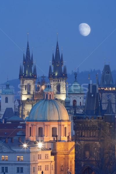 Çek Cumhuriyeti Prag gökyüzü Bina ay Stok fotoğraf © courtyardpix
