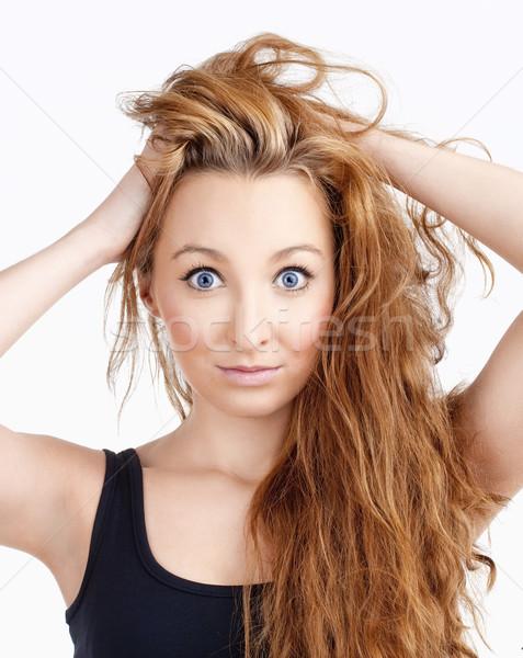 Jeunes belle femme longtemps grand yeux bleus Photo stock © courtyardpix