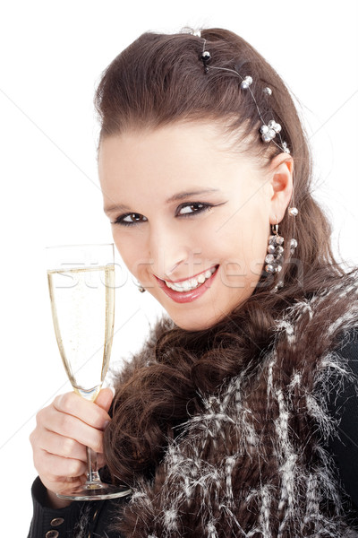 Young Woman Holding a Glass of Champagne, Smiling Stock photo © courtyardpix