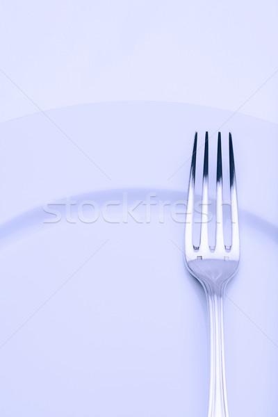 Ezüst étkészlet közelkép villa elegáns asztal konyha Stock fotó © courtyardpix
