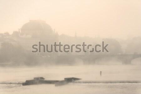 Prague théâtre brouillard rivière brumeux matin Photo stock © courtyardpix