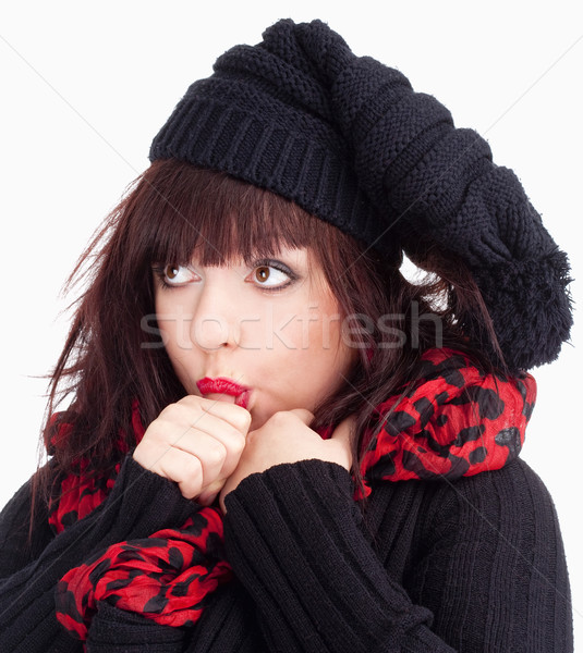 Young Woman with Black Cap Sucking on her Thumb Stock photo © courtyardpix