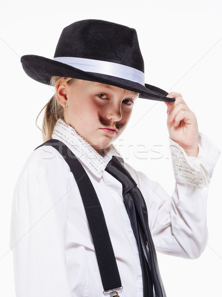 Little Girl with Hat Posing as a Gangster Stock photo © courtyardpix