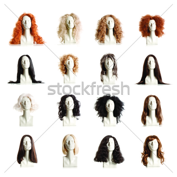Composite of Mannequin Female Heads with Wigs Stock photo © courtyardpix