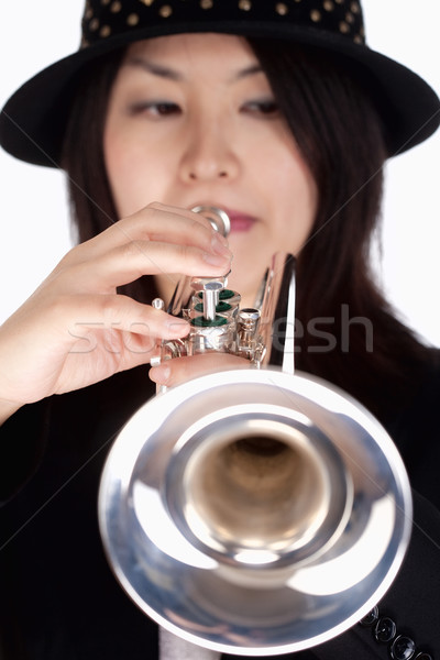 Portrait of a Female Trumpet Player  Stock photo © courtyardpix