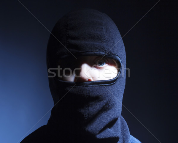 Retrato menino jogar ninja olhos Foto stock © courtyardpix
